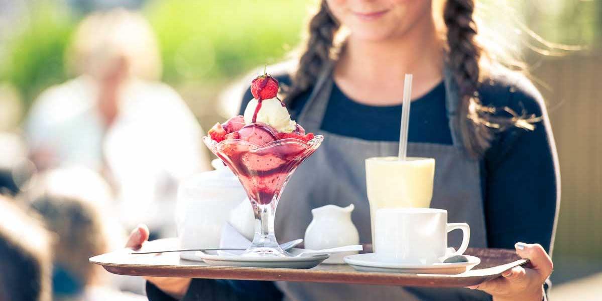 Ice cream sundae at Greens Of Padstow