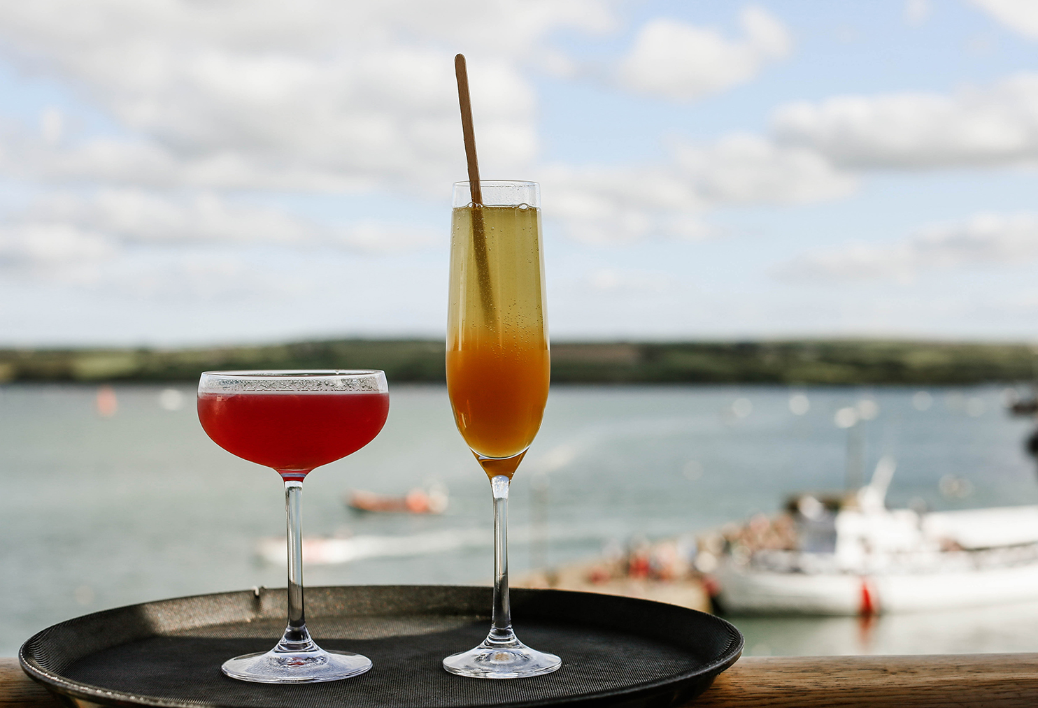 Cocktails overlooking Camel Estuary at Greens