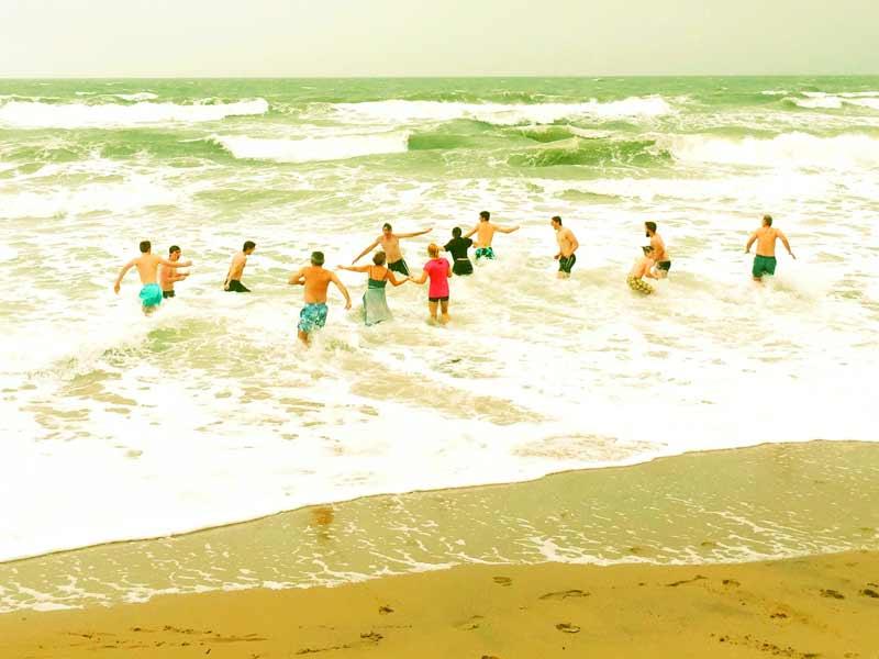People Sea Swimming in Cornwall