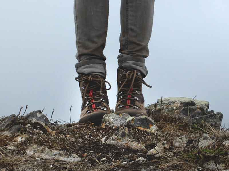 Walking Boots on The South West Coast Path in Cornwall